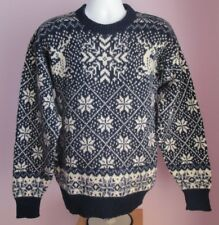 VTG Mens TIMBER VALLEY Blue/White Patterned Wool Mix Jumper Size Small (85e)