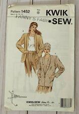 Kwik Sew 1452 Blazer Jacket Coat Shawl Collar Size  6 8 10 12 1980s  Uncut