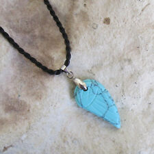 Small TURQUOISE HOWLITE Angel Wing PENDANT & Twisted Cord Necklace