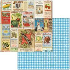 "Bo Bunny Family Recipes - DELICIOUS - 12x12"" d/sided scrapbooking paper"