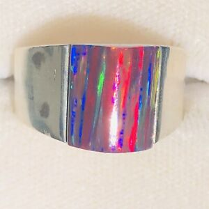 Bold RED Black Fire Opal Sterling Silver 925 Pyramid Ring Ladies 8 womans Q UK