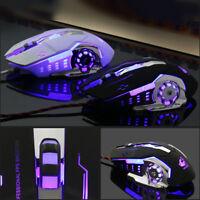 Ergonomic Pro Wired LED Light 4000DPI Optical Usb Gamer Gaming Mouse Metal-P Hs