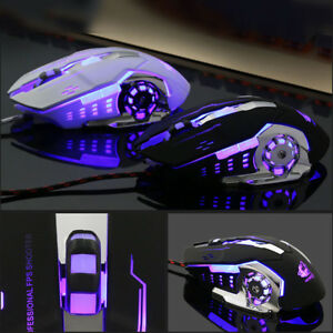 Ergonomic Pro Wired LED Light 4000DPI Optical Usb Gamer Gaming Mouse Metal-Plate