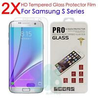 2X Real Tempered Glass Guard Screen Protector Film For Samsung Galaxy S7 6 5 4 3