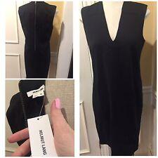 HELMET LANG Dress 10, Sleeveless V-Neck Black Knee-Length Lined, Zipper, NWT