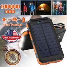 Portable Waterproof Solar Power Bank External Battery Dual USB Dual Flashlight
