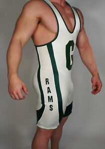 Men's WHITE WITH GREEN TRIM WRESTLING Singlet Adult MEDIUM WITH HEAD GEAR