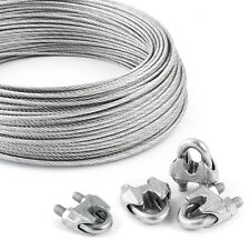Drahtseil verzinkt 5m - 100m + 4 Klemmen Set Stahlseil Seile Seil Bügelklemmen