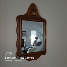 Vintage AMERICAN Wall Mirror Wood Frame w/Ornate Patriotic Eagle On Top