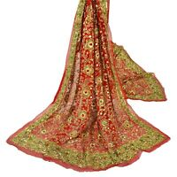 Sanskriti Vintage Red Heavy Dupatta Pure Georgette Silk Hand Beaded Bridal Stole
