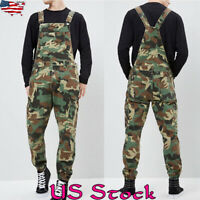 Men Casual Romper Camouflage Bib Playsuit Work Jumpsuit Overalls Cargo Pants US