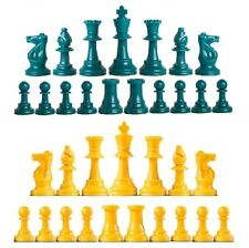 Staunton Triple Weighted Chess Pieces – Full Set 34 Aqua & Yellow - 4 Queens