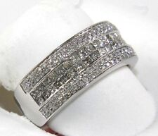 Round & Princess Diamond 2 Row Cluster Invisible Ring Band 14k White Gold 1.18Ct