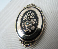 a692 Beautiful Gold Filled Brooch with Black Enamel and Seed Pearl
