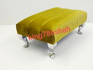 FOOT REST POUFFE FOOT STOOL QUEENANNE LEGS BRITISH MADE  IN PLUSH FEBRIC