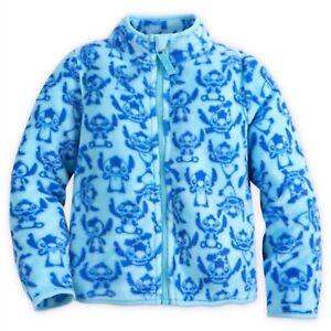 Disney Store Stitch Fleece Jacket Girls Lilo & Stitch Blue Allover Print 5/6 7/8
