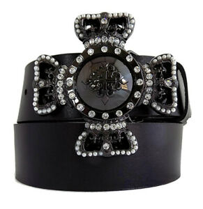 """WASHED UP HOLLYWOOD 067BK BLACK CROWN SHIELD 1.5"""" BUCKLE with CRYSTALS & PEARLS"""