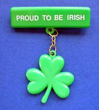 Russ Pin St Patrick Vintage Shamrock Proud To Be Irish Dangle Holiday Brooch