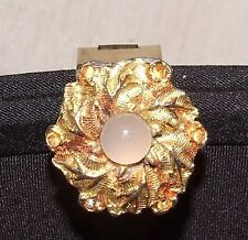 1950s Black Clutch Bag Purse Goldtone Moonstone Floral Clasp Convertible Chain