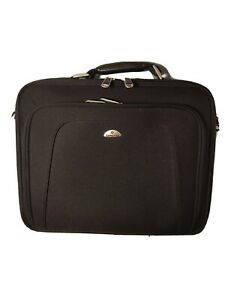 """Samsonite Black Canvas Slim Laptop Briefcase with Fold Out Pockets-16x12x4""""-New"""