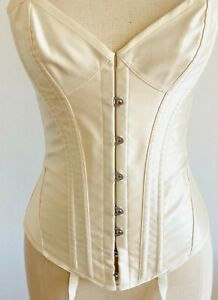 NWT Agent Provocateur Ivory White Mercy Corset Basque Silk Bridal Small C D Cup