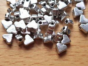 Tibetan Silver HEART BEADS small 6mm x 5mm Spacer-Jewellery making 25/50/100/500