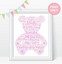 Personalised TEDDY BEAR Word Art Print Christening New Baby Girl Boy Gift