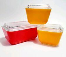 Vtg pyrex friendship refrigerator dishes w lids red 502, (2) orange 501