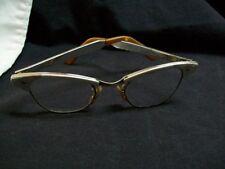 Vintage Alum 44 Cat Eye Glasses 5 1/2 Aluminum & Gold Frame in Good Condition