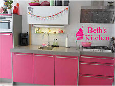 Cupcake & Personalized Kitchen Sign Wall Sticker Wall Art Vinyl Decals