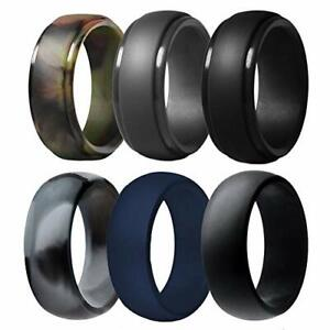 Silicone Wedding Ring for Men, 6 Pack Breathable Silicone Rubber Wedding Bands..