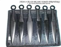 NARUTO SPIKES THROWING KNIFE SET 6 PIECE BLACK KNIVES