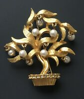 Vintage  Bonsai tree Brooch gold  Tone Metal