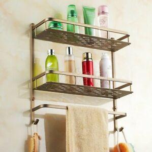Antique Brass 2-Tier Corner Shower Basket Bathroom storage caddy shelf Gba527