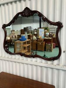 H41042 Vintage Mahogany Carved Timber Mirror