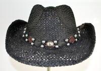 PETER GRIMM DRIFTER Rabbit Headband WESTERN STYLE STRAW BLACK HAT O/S