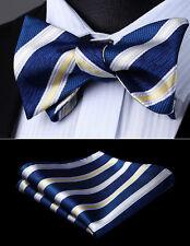 Mens Wedding White Navy Blue Striped Self Bow Tie Pocket Square Set#BS715VS
