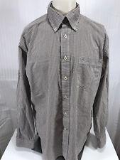 Tommy Hilfiger Brown Check L/S Button Down 80's 2 Ply Men's Shirt Size L