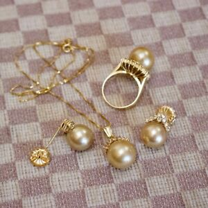 ESTATE 14K YELLOW GOLD 12mm GOLDEN PEARL & DIAMOND NECKLACE/EARRING/RING SET