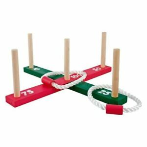 New Wooden Garden Beach Indoor Outdoor Quoits Family Pegs And Rope Hoopla Game