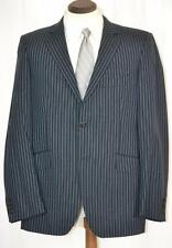 Perfect $2295 ETRO Flat Front Navy Blue Pinstripe Slim Fit SUIT 42 R or 40 R