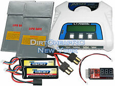 COMBO PD403 Charger 2x 11.1V 1300mAh LiPo Battery Traxxas 1/16 E-Revo Summit VXL