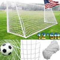 12 X 6FT PE Football Soccer Goal Post Net Sports Training Practice Outdoor USA