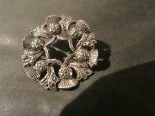 Silver & Marcasite Thistle Brooch, Beautiful Vintage Quality Scottish Solid