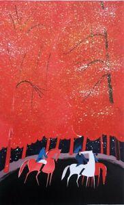 Serge LASSUS : Cavaliers et forêt rouge - LITHOGRAPHIE originale signée, 250ex