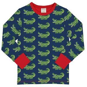 Maxomorra Crocodile Print Long Sleeve Top Organic Cotton Scandi