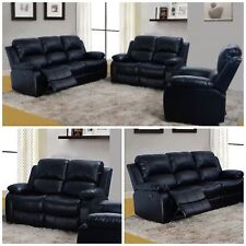 3 PC Bonded Leather Black Reclining sofa set