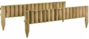 1M Log Roll Border Fixed Picket Fence Edge Garden Outdoor Lawn Edging