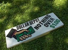 Neat 1993 Orig DOLLAR DEPOT Inside WALL Sign Great HAND GRAPHIC w/DOLLAR Bills !