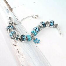 Blue Silver Plated Blue Heart Glass Charm With Bracelet